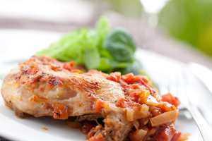 Slow cook chicken cacciatore with rice