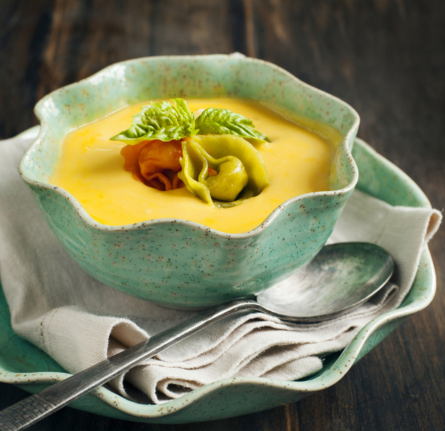 Cheesy butternut squash and mixed tortellini soup