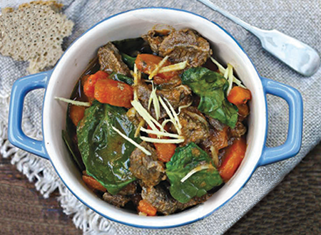 Paul Flynn's Irish gingered beef, carrot and spinach casserole