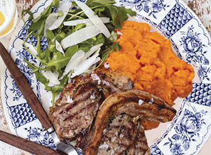 Paul Flynns lamb loin chops with a sweet potato and parmesan mash