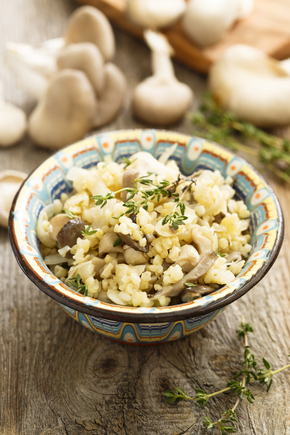 Slow cooker barley and mushroom risotto