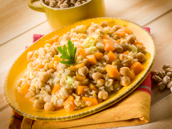 Chickpea and barley risotto