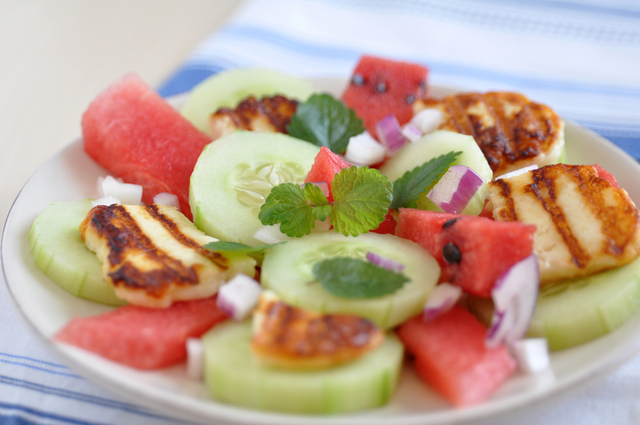 Fried halloumi, watermelon and cucumber salad
