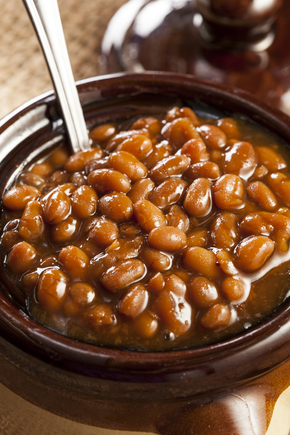 BBQ style beans with mashed potato
