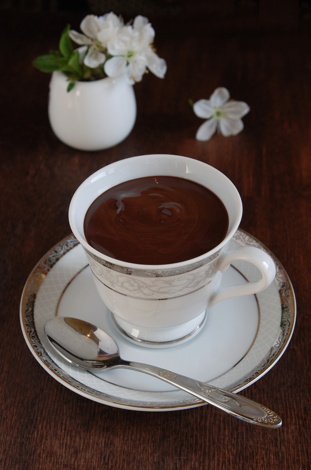 Chocolate pots with tea
