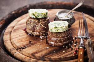 Filet mignon with herb butter and rustic toast