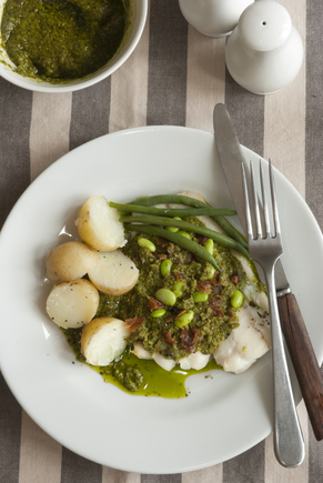 Cod and broad beans