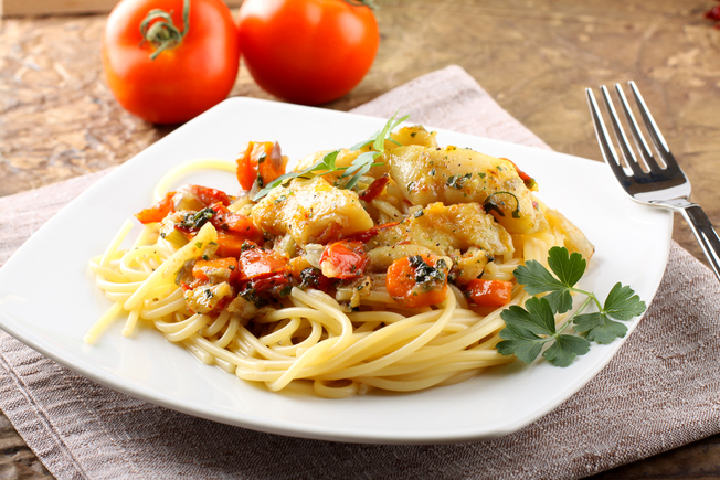 Fillet of cod and pasta