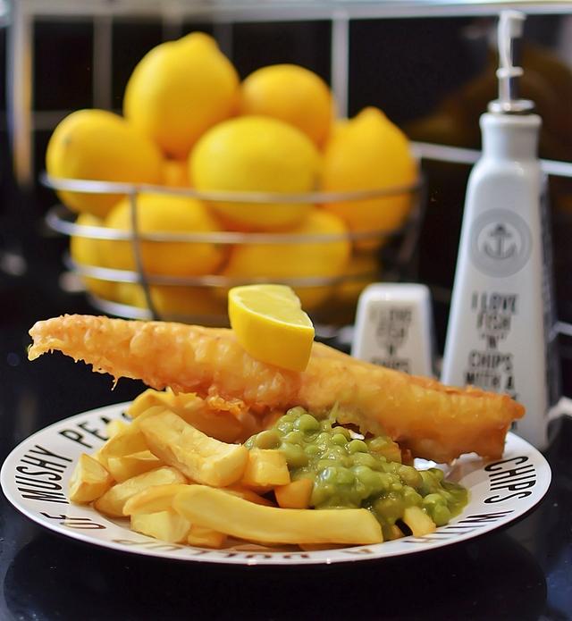 Gluten-free battered cod and mushy peas