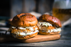 Crispy fish burger with lime mayo