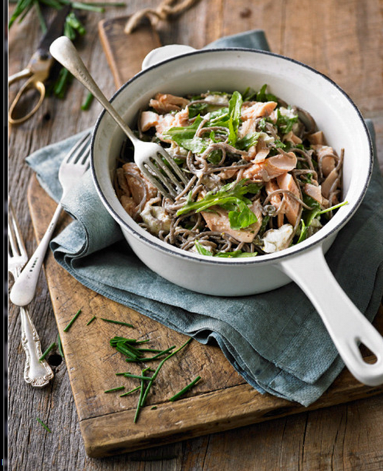 Buckwheat pasta with flaked trout