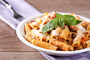 Rigatoni with beef and aubergine ragu