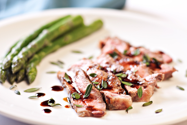 Grilled balsamic steak and asparagus