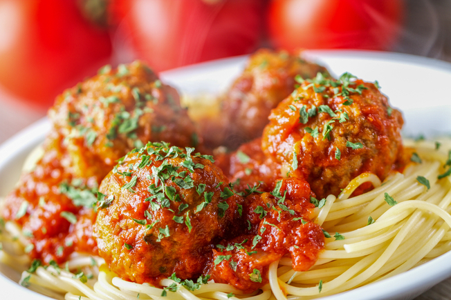 Roasted squash with spaghetti and meatballs