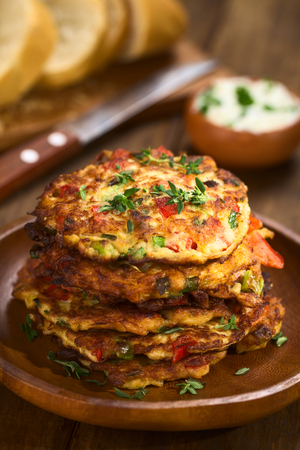 Courgette pancakes with feta and peppers