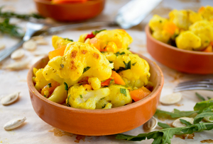 Cauliflower with lentil curry