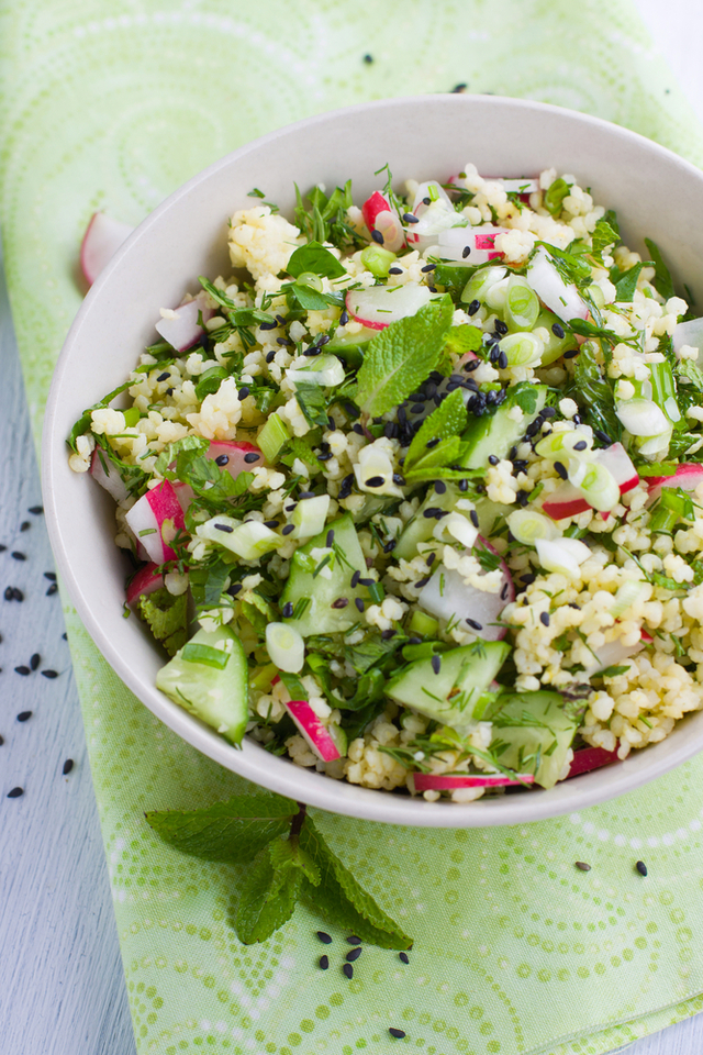 Mint couscous with mixed vegetables