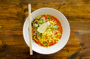 Spicy coconut soup with noodles