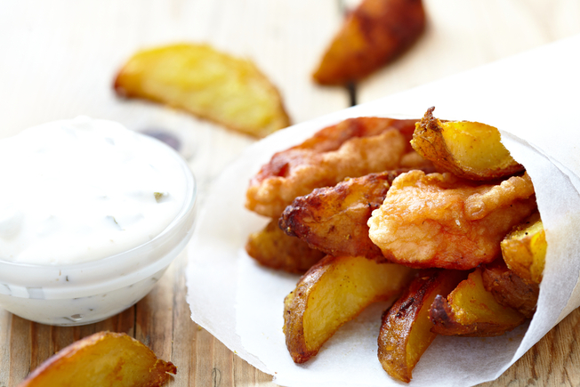 Crispy fish nuggets and sweet potato wedges