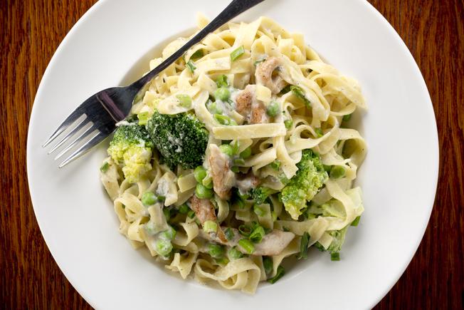 Broccoli and salmon tagliatelle