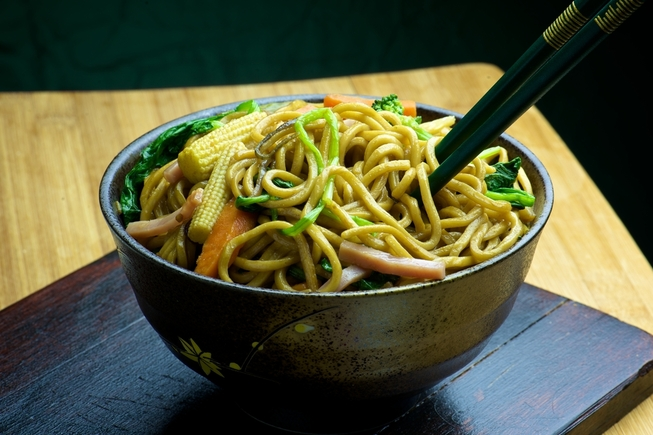 Pork Chow Mein with mixed vegetables