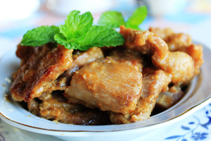 Sticky ginger pork chops