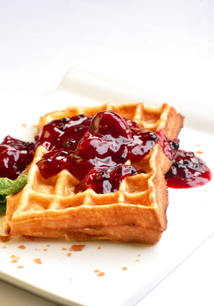 Waffles with a berry compote
