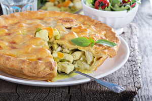 Curried vegetable and chicken pie