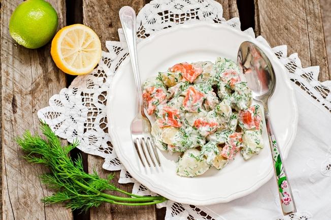 Salmon, potato and cucumber salad