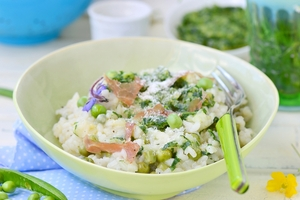 Vegetable and fish risotto