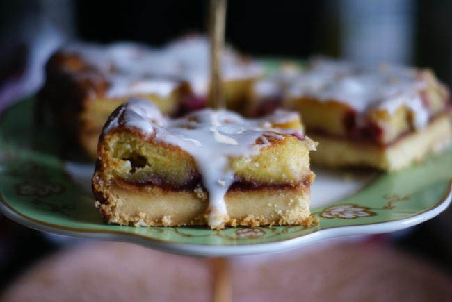 Jam and marzipan tart