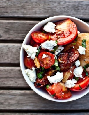 Chorizo, cherry tomato and onion salad