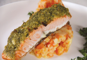 Lemon Crusted Salmon with Carrot and Potato Mash