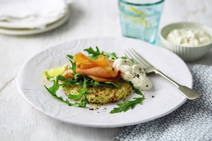 rosti with smoked salmon rocket and crème  mummypages