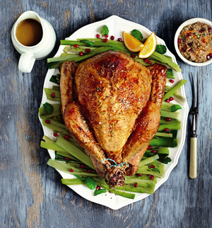 Turkey with Pomegranate Orange & Almond Stuffing with an Orange Glaze