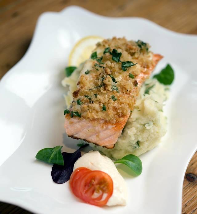 Herb-crusted salmon, spring onion & basil mash