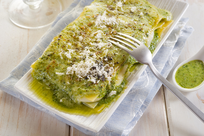 Green pesto lasagne