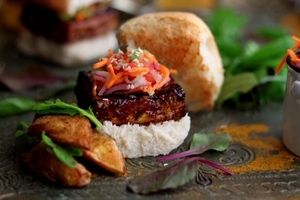 Tofu sliders with Indian salad and masala wedges