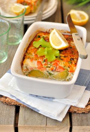 Salmon, pesto and potato tray bake with artichoke hearts