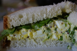 Egg with watercress sandwiches