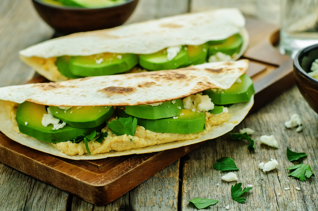 Avocado with hummus and feta sandwiches