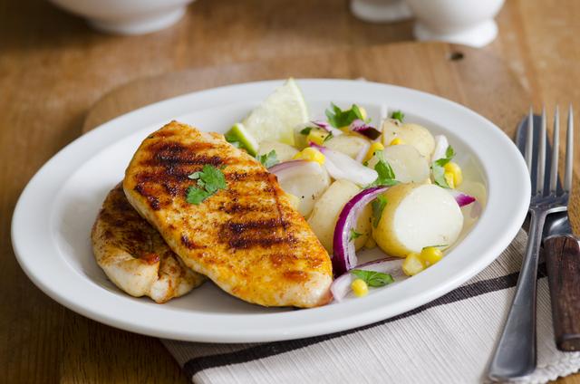 Smoked chicken with corn and potato salad