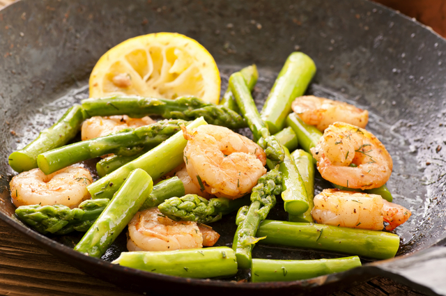 Grilled asparagus and prawns with a French twist