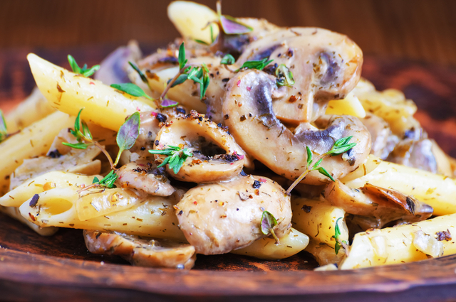 Penne pasta with mushrooms and sausage
