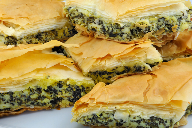 Spinach with mixed cheese filo squares