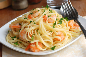 Spaghetti and prawn supper