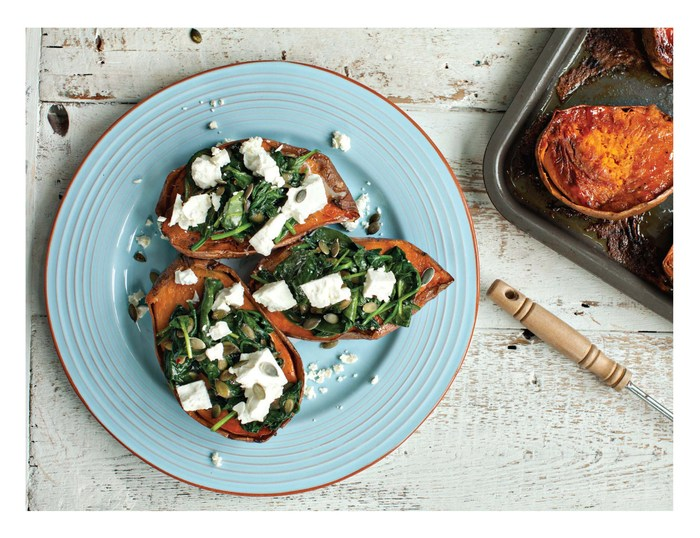Paul Flynn's baked sweet potato with feta cheese, spinach and chilli pumpkin seeds