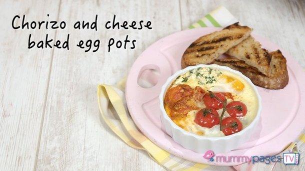Chorizo & cheese baked egg pots