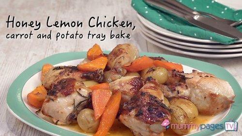 Honey lemon chicken, carrot and potato tray bake