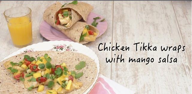 Chicken tikka wraps with mango salsa